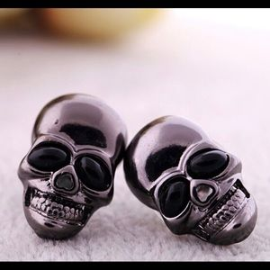 Gunmetal Skulls with Heart Noses Stud Earrings